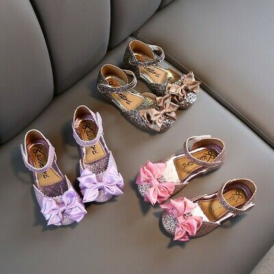 Toddler Infant Kids Baby Girl Solid Bling Bowknot Princess Sandals Fashion Shoes