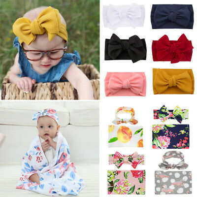 Baby Headband Bow Knot Big Vintage Retro Hair Ribbon Childrens Kids Girls Boys