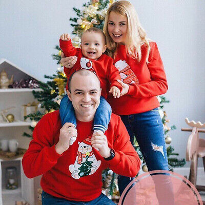 UK Christmas Family Matching Tops Pullover Jumper Sweater Xmas Outfit Women Kid