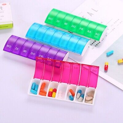 Weekly Pill Box Daily Organiser Medicine Tablet Storage Dispenser 7 Day Week Top