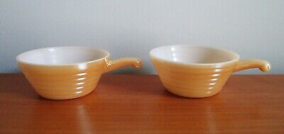 Fire King 2 Peach Luster Beehive Bowls Handles Chili Onion Soup Anchor Hocking