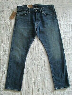 POLO Ralph Lauren VARICK Slim Straight Stretch Jeans BUTTON Fly Size 34 x 32 NWT