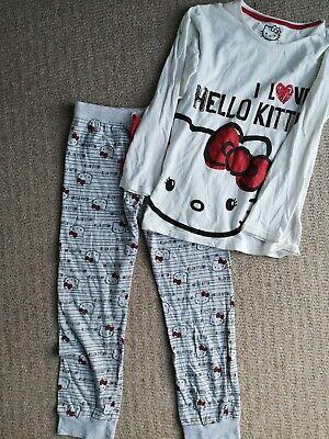 Older Girls Marks & Spencer M&S Hello Kitty Pyjamas Grey White Red Age 11-12