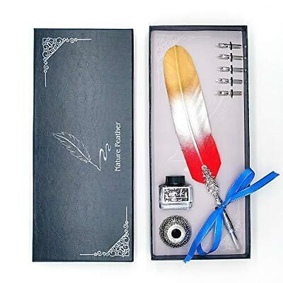 Mancola Handmade Feather Pen Set Retro Color Matching Antique Calligraphy