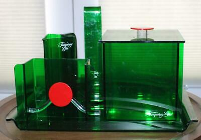 Rare Tanguery Gin Lucite Christmas Bar Set Tray Ice Bucket Pitcher ++ Green Red