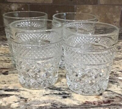 """LOT OF 2 WEXFORD GLASS JUICE BAR DOF GLASSES 3 7/8""""T Double Old Fashion Unused"""