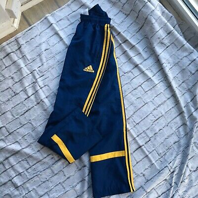 Adidas Boys Track Trousers Blue Yellow Age 15 16 Years Nylon Spain