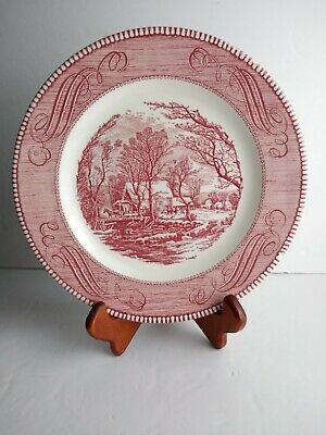 """Currier & Ives by Royal USA """"The Old Grist Mill"""" Underglaze 10"""" Plate, Pink"""