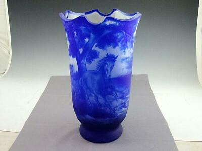 Large Antique 1930's Bohemian Blue Cameo Art Glass Vase Running Horses Signed