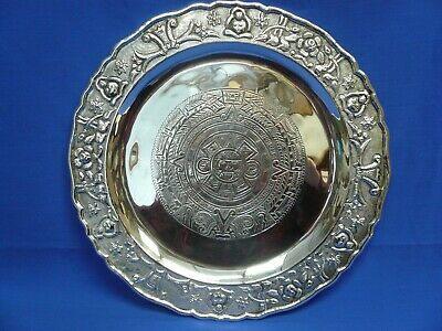 1950's Sterling Silver Aztec Motif Tray by Maciel of Mexico