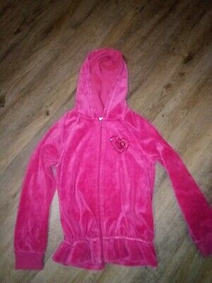 Girls The Children's Place Pink Velour Hooded Jacket Sz M 7/8