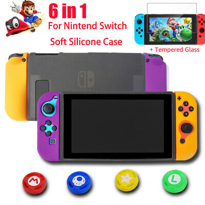 6in1 Silicone Case Cover Protective Skin + Thumb Grip Cap For Nintendo Switch AU