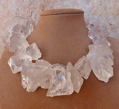 HUGE CLEAR WHITE FROST QUARTZ Stone Artisan STATEMENT NECKLACE ROUGH Chunky Ice