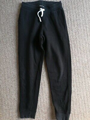 Older Girls Boys H&M Black Cotton Tracksuit Bottoms Trousers Slim Leg Age 11-12