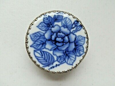 ROUND METAL MIRRORED TRINKET BOX with PORCELAIN BLUE ROSE MEDALLION ON TOP
