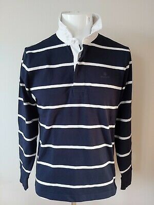 Men's blue & white striped long sleeve GANT polo shirt rugby top size M medium
