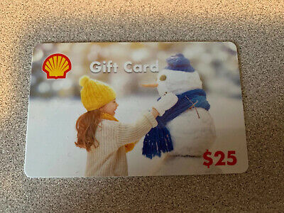 """Shell Gas Gift Card Girl And Snowman. NO VALUE """"0"""" Dollars (Free Shipping)"""