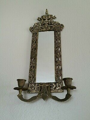 Vintage Brass Mirror Ornate Gold Color Candle Holder Wall Sconce Metal Koi Fish