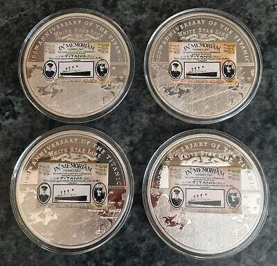 MINT set of 4 RMS TITANIC WHITE STAR LINE 100th ANNIVERSARY commemorative COINS