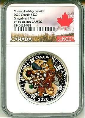 2020 Canada $20 Murano Holiday Cookies Glass Gingerbread Man NGC PF70 UC COA OGP