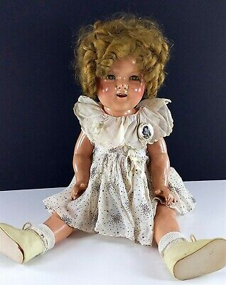 "Shirley Temple Vintage Ideal Composition Doll 20"" 1930s Blonde Mohair Wig w/ Pin"