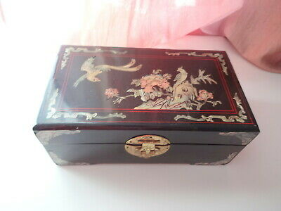 Rare Antique Vtg Chinese Lacquer Mother of Pearls Inlay Vanity Jewelry Wood Box