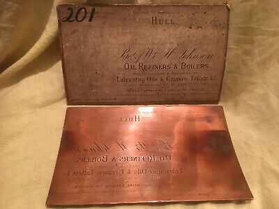 Vintage Advertising-Copperplate Engraving-Printing Plate-Johnson,HULL,Oil,Paint.
