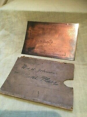 Vintage Advertising-Engraved Copper Printing-Johnson,HULL,Calling Card.Oil,Paint