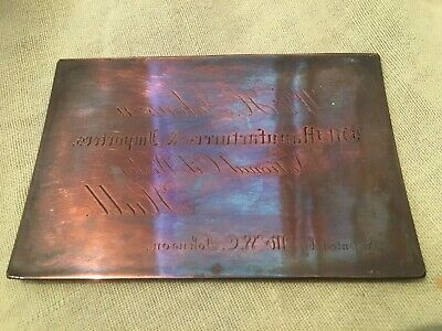 Vintage Advertising-Engraved Copper Printing Plate-Johnson,HULL.,Oil,Paints Etc
