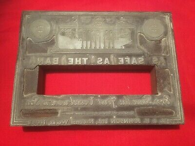 Antique Printing Block-Safe As The Bank-National Works Hull,Paint,Trawlers,Boats