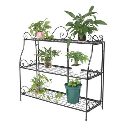 Metal Plant Stand for Indoor and Outdoor Black Flower Rack Home Storage Shelf