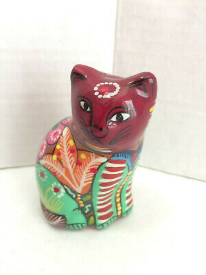 """Mexico Red Clay Pottery Cat Hand Painted Flowers Floral 3½"""" Folk Art Figurine"""