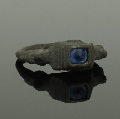 Beautiful Ancient Medieval Bronze Ring With Blue Stone - Circa 15Th C Ad