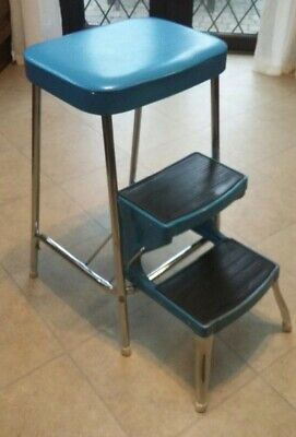 Vintage Retro Prestige Industrial Kitchen Step Stool Chrome & Blue, superb cond
