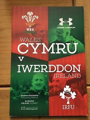 rugby programme Wales v Ireland RWC WarmUp August 2019 Mint Condition