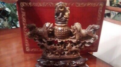 Vintage / Antique Chinese Carved Soap Stone Foo Dogs Incense Burner