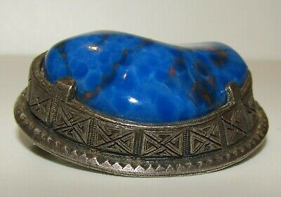 Superb, Large, Antique Chinese Sterling Silver Beautiful Bloodstone Brooch