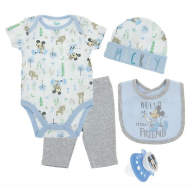 Mickey Mouse Baby Boy 5 Piece Gift Set NWT Gift Boxed Disney Blue 0-3 Months