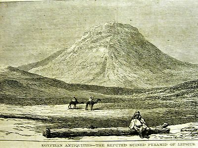 Egypt EGYPTIAN ANTIQUITIES Pyramid of Lepsius 1873 Antique Engraving Art Matted
