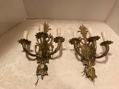 Pair of Vintage French Solid Brass 3 lite electric Wall Candle Sconces 16""