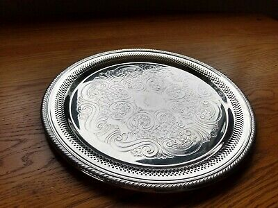 """FB Rogers Silver Co #6724 Silver Plated Serving Tray Round 12"""" Diameter"""