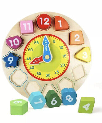 Wooden Shape Sorting Clock Educational Early Puzzle Toy Favor LE