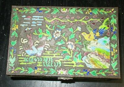 Old Cloisonne Repousse Enamel Chinese Blue Birds Design Humidor Jar Box