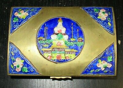 Old Cloisonne Repousse Blue Enamel Chinese Temple Humidor Jar Box