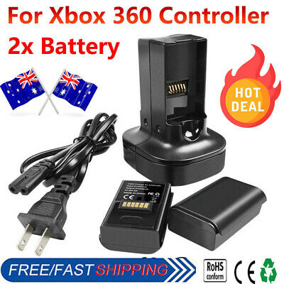 2x Rechargeable Battery + Dual Charger + AC adapter For Xbox 360 Controller HT