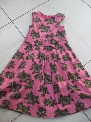 Girls MINI BODEN party summer DRESS age 7 8 years pink floral retro pinafore