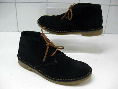 girls ladies RIVER ISLAND desert Boots size UK 2 35 blue leather suede ankle