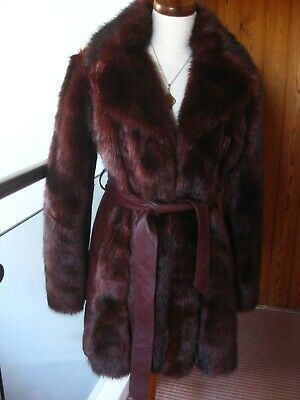 Ladies MISS SELFRIDGE FAUX FUR LEATHER mink JACKET COAT UK 12 retro 1940s belted