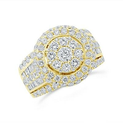 Womens 14K Yellow Gold 2.80CT Round Baguette Cut Diamond Cluster Cocktail Ring