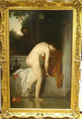 Huge 19th century French Nude Portrait Bathing Jean Jacques HENNER (1829-1905)